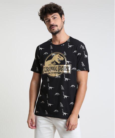 Camiseta-Masculina-Jurassic-Park-Estampada-Manga-Curta-Gola-Careca-Preta-9873333-Preto_1