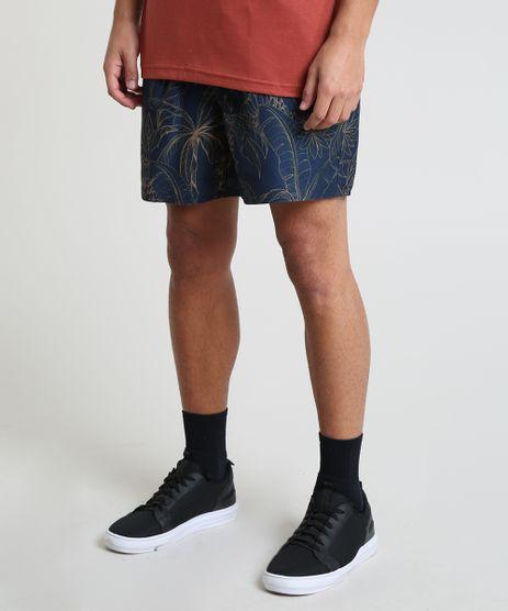 Short-Masculino-Estampado-de-Coqueiros-com-Bolsos-Azul-Escuro-9788131-Azul_Escuro_1