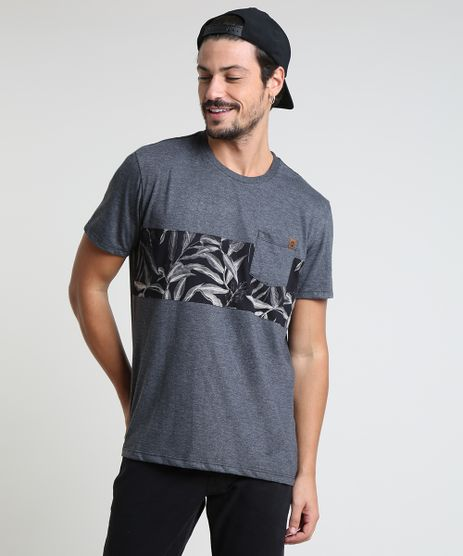 Camiseta-Masculina-com-Bolso-e-Recortes-Manga-Curta-Gola-Careca-Cinza-Mescla-Escuro-9895903-Cinza_Mescla_Escuro_1