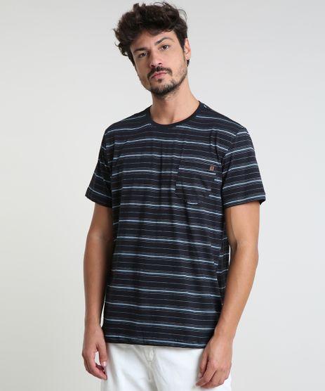 Camiseta-Masculina-Listrada-com-Bolso-Manga-Curta-Gola-Careca-Preta-9893932-Preto_1