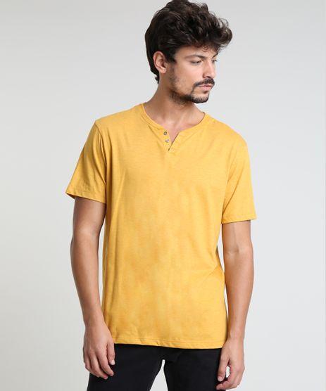 Camiseta-Masculina-BBB-Basica-com-Botoes-Manga-Curta-Gola-Careca-Mostarda-9555552-Mostarda_1