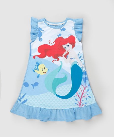 Camisola-Infantil-Pequena-Sereia-Ariel-com-Babados-Sem-Manga-Azul-9879743-Azul_1