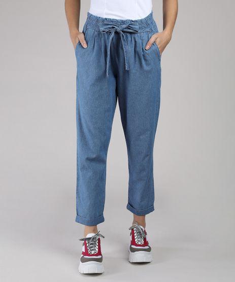 Calca-Jeans-Feminina-Clochard-Cintura-Alta-com-Amarracao-e-Bolsos-Azul-Claro-9381646-Azul_Claro_1