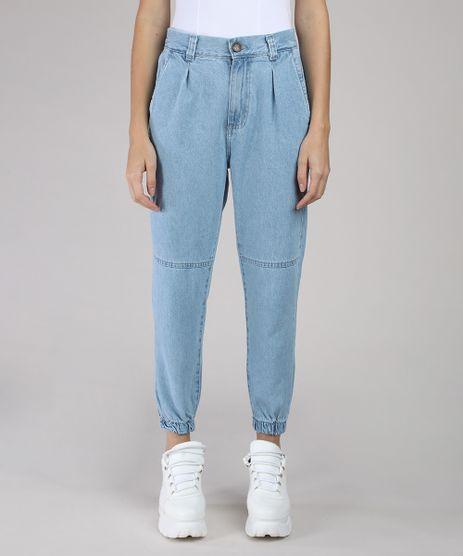 Calca-Jeans-Feminina-BBB-Jogger-Cintura-Alta-com-Bolsos-Azul-Medio-9594591-Azul_Medio_1