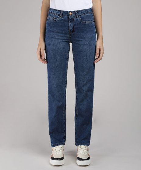 Calca-Jeans-Feminina-Reta-Cintura-Media-com-Bolsos-Azul-Escuro-9665135-Azul_Escuro_1