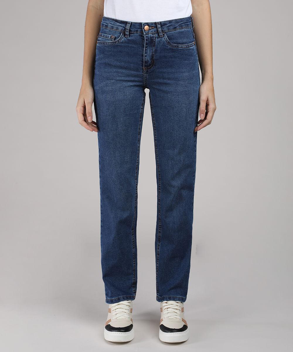 Calça Jeans Feminina Reta Cintura Média com Bolsos Azul Escuro