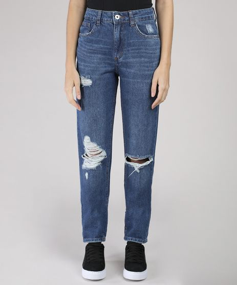 Calca-Jeans-Feminina-Mom-Vintage-com-Rasgos-Azul-Escuro-9828359-Azul_Escuro_1