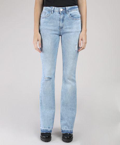 Calca-Jeans-Feminina-BBB-Flare-Cintura-Alta-com-Rasgos-e-Barra-Desfeita-Azul-Claro-9854648-Azul_Claro_1