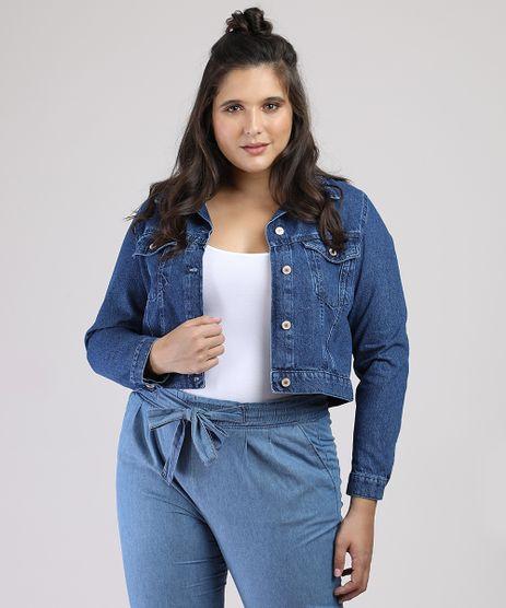 Jaqueta-Jeans-Feminina-Cropped-com-Bolsos-Azul-Escuro-9945400-Azul_Escuro_1