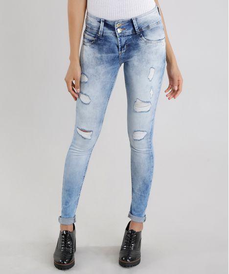 8d227c26f7 Calça Jeans Skinny Destroyed Sawary Levanta Bumbum Azul Claro - cea