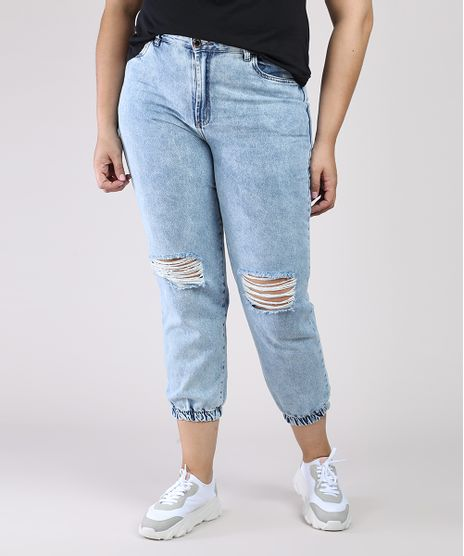 Calca-Jeans-Feminina-Mom-Jogger-Cintura-Super-Alta-com-Rasgos-Azul-Claro-9944866-Azul_Claro_1