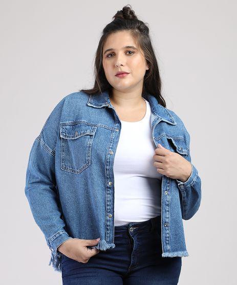 Camisa-Jeans-Feminina-com-Bolsos-e-Barra-Desfiada-Manga-Longa-Azul-Medio-9946111-Azul_Medio_1