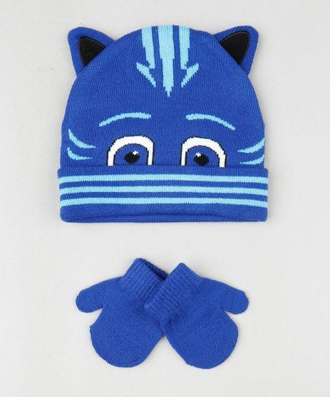 Kit-Infantil-de-Gorro-Menino-Gato-PJ-Masks-com-Orelhas---Luva-em-Trico-Azul-9784979-Azul_1