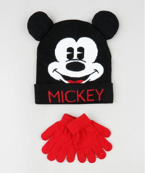 Kit-Infantil-de-Gorro-Mickey-com-Orelhas-Preto---Luva-em-Trico-Vermelha-9784918-Vermelho_1