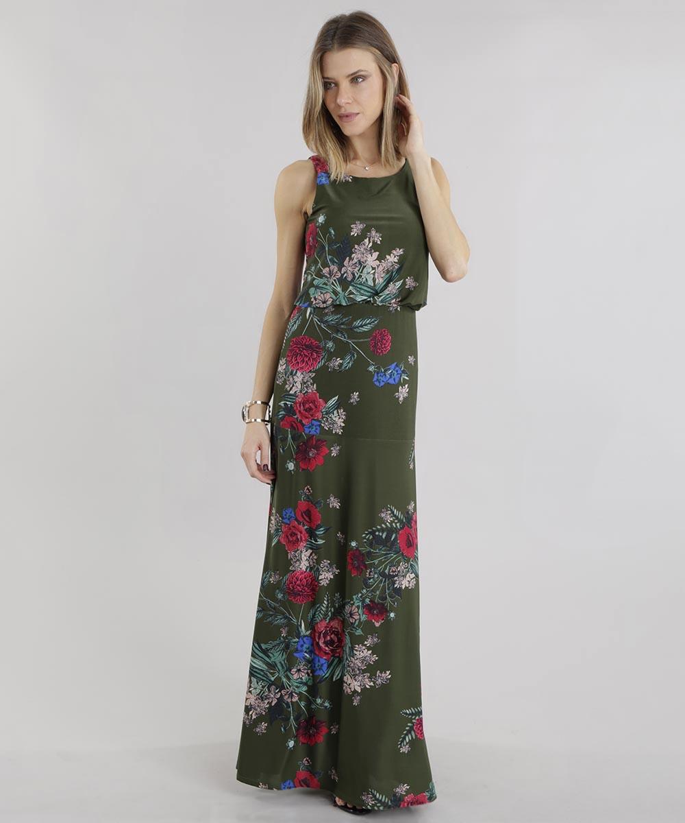 bc2d791dbd04 Vestido Longo Estampado Floral Verde Militar - ceacollections