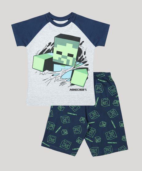 Pijama-Infantil-Minecraft-Raglan-Manga-Curta-Cinza-Mescla-9878560-Cinza_Mescla_1