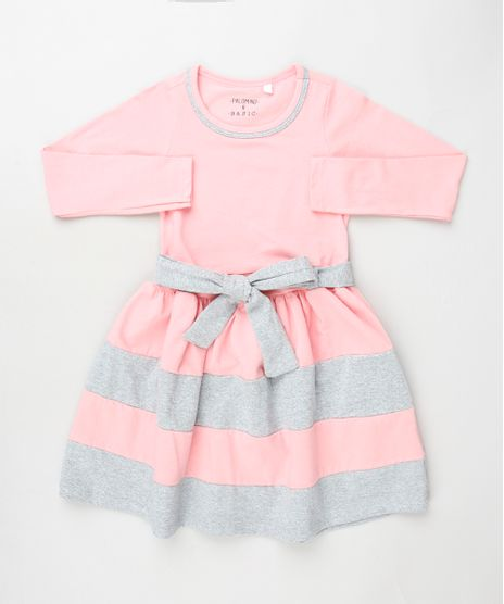 Vestido-Infantil-com-Recorte-e-Faixa-para-Amarrar-Manga-Longa-Rosa-Claro-9936561-Rosa_Claro_1