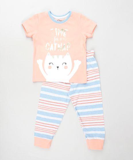 Pijama-Infantil-Gatinho-Manga-Curta-Rosa-9879737-Rosa_1
