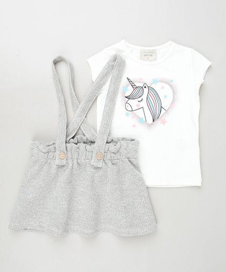 Conjunto-Infantil-de-Blusa-Unicornio-Manga-Curta-Branca---Salopete-com-Textura-e-Botoes-Cinza-9933963-Cinza_1