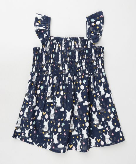 Vestido-Infantil-Estampado-de-Coelhos-com-Lastex-e-Babado-Alca-Media-Azul-Marinho-9796106-Azul_Marinho_1