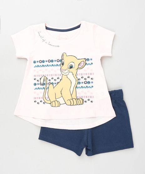 Conjunto-Infantil-Nala-O-Rei-Leao-de-Blusa-Manga-Curta-Rosa-Claro---Short-em-Moletom-Azul-Marinho-9880768-Azul_Marinho_1