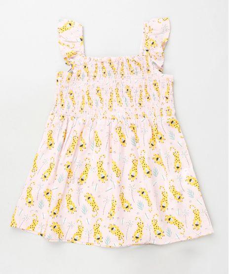 Vestido-Infantil-Estampado-de-Oncinhas-com-Lastex-e-Babado-Alca-Media-Rosa-Claro-9796107-Rosa_Claro_1