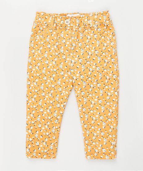 Calca-Infantil-Jegging-Estampada-Floral-com-Bolsos-Amarela-9842852-Amarelo_1