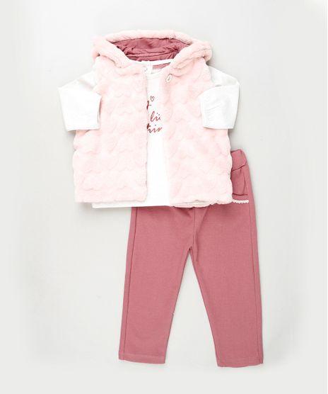 Conjunto-Infantil-Blusa-Manga-Longa-Branca---Colete-com-Pelo---Calca-em-Moletom-Rosa-9842861-Rosa_1