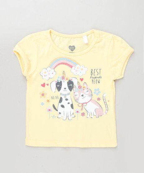 Blusa-Infantil-Cachorro-e-Gato-Manga-Curta-Rosa-Claro-9943368-Rosa_Claro_1