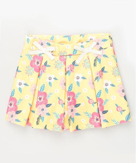 Short-Saia-Infantil-Estampado-Floral-com-Lacos-e-Pregas-Amarelo-9939605-Amarelo_1