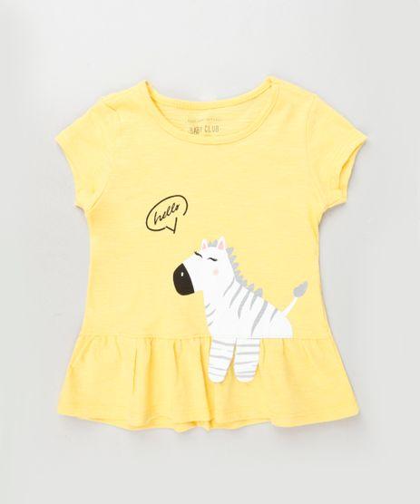 Blusa-Infantil-com-Estampa-Interativa-de-Zebrinha-e-Babado-Manga-Curta-Amarela-9917542-Amarelo_1
