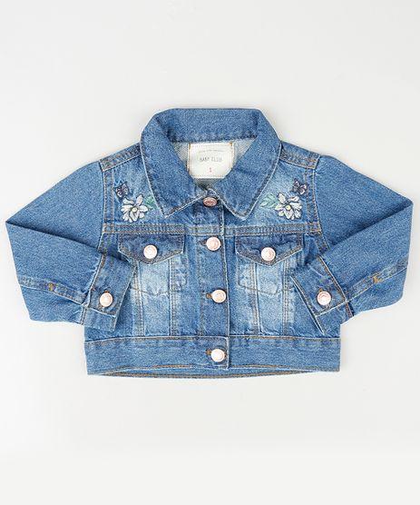 Jaqueta-Jeans-Infantil-com-Bordado-Floral-e-Bolsos-Azul-Medio-9894188-Azul_Medio_1