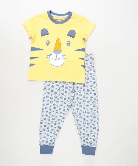 Pijama-Infantil-Tigre-Manga-Curta-Amarelo-9879628-Amarelo_1