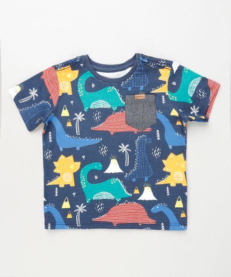 Camiseta-Infantil-Estampada-de-Dinossauros-com-Bolso-Manga-Curta-Azul-Marinho-9928983-Azul_Marinho_1