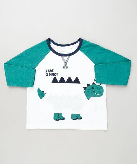 Camiseta-Infantil-com-Estampa-Interativa-de-Dinossauro-Manga-Longa-Branca-9910440-Branco_1