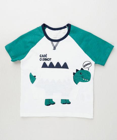 Camiseta-Infantil-com-Estampa-Interativa-de-Dinossauro-e-Bolso-Manga-Curta-Branca-9910441-Branco_1