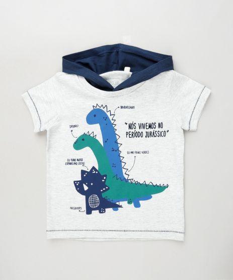 Camiseta-Infantil-Dinossauro-com-Capuz-Manga-Curta-Cinza-Mescla-Claro-9895889-Cinza_Mescla_Claro_1