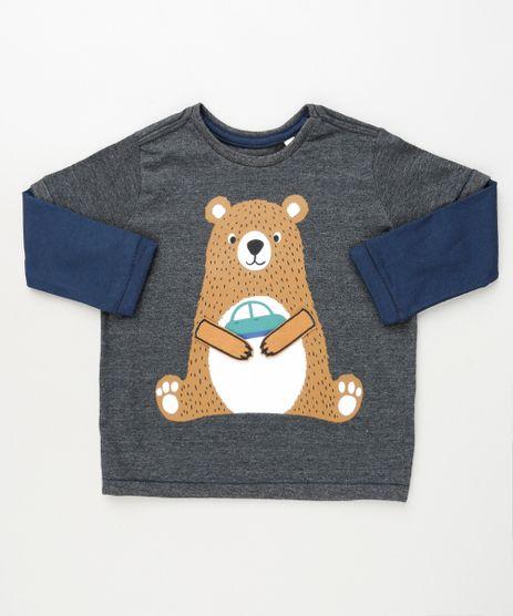 Camiseta-Infantil-com-Estampa-Interativa-de-Urso-Manga-Longa-Cinza-Mescla-Escuro-9910443-Cinza_Mescla_Escuro_1