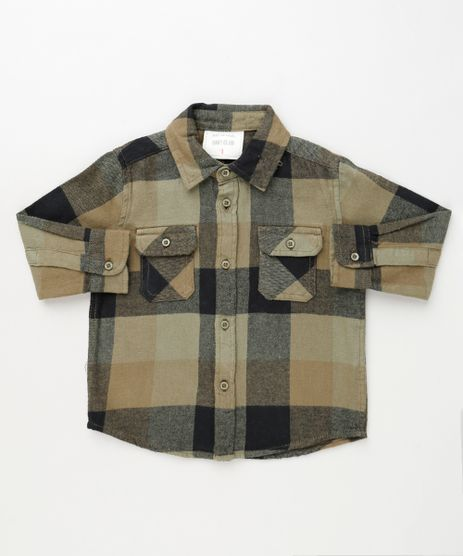 Camisa-Infantil-Estampada-Xadrez-em-Flanela-com-Bolsos-Manga-Longa-Bege-9810806-Bege_1