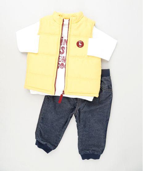 Conjunto-Infantil-de-Camiseta-Manga-Longa-Branca---Colete-Puffer-Amarelo---Calca-Jeans-Jogger-em-Moletom-Cinza-Mescla-Escuro-9842892-Cinza_Mescla_Escuro_1