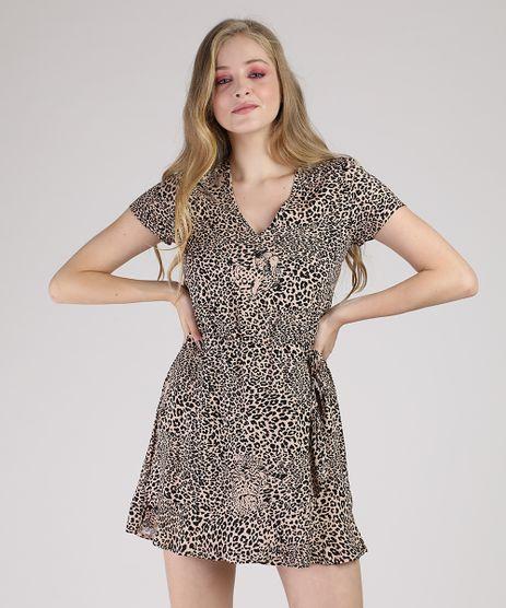 Vestido-Feminino-Curto-Transpassado-Estampado-Animal-Print-Onca-Manga-Curta-Bege-9877766-Bege_1