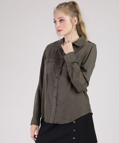 Camisa-de-Sarja-Feminina-com-Martingale-e-Bolsos-Manga-Longa-Verde-Militar-9944908-Verde_Militar_1