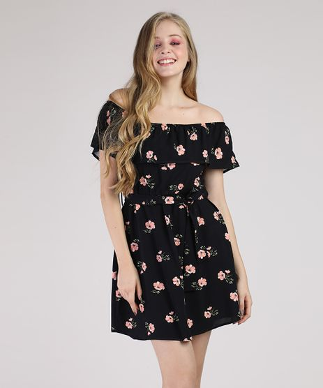 Vestido-Feminino-Curto-Ciganinha-Estampado-Floral-com-Faixa-para-Amarrar-Manga-Curta-Preto-9929163-Preto_1