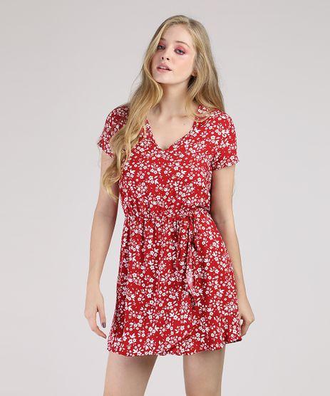Vestido-Feminino-Curto-Estampado-Floral-com-Transpasse-Manga-Curta-Vermelho-9877765-Vermelho_1