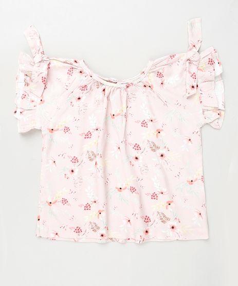 Bata-Infantil-Estampada-Floral-com-Babado-e-Laco-Manga-Curta-Rosa-9906263-Rosa_1
