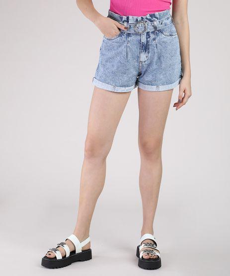 Short-Jeans-Feminino-Clochard-Cintura-Super-Alta-com-Cinto-de-Strass-Azul-Claro-9944869-Azul_Claro_1
