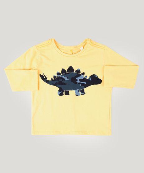 Camiseta-Infantil-com-Estampa-Interativa-de-Dinossauro-Manga-Longa-Amarela-9921903-Amarelo_1