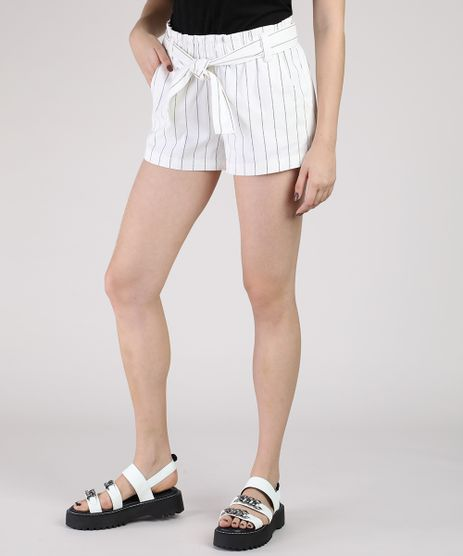 Short-Feminino-Clochard-Cintura-Alta-Listrado-com-Faixa-para-Amarrar-Branco-9930892-Branco_1