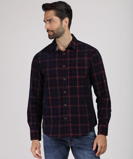 Camisa-Masculina-Comfort-Estampada-Xadrez-em-Flanela-com-Bolso-Manga-Longa-Azul-Marinho-9809554-Azul_Marinho_1