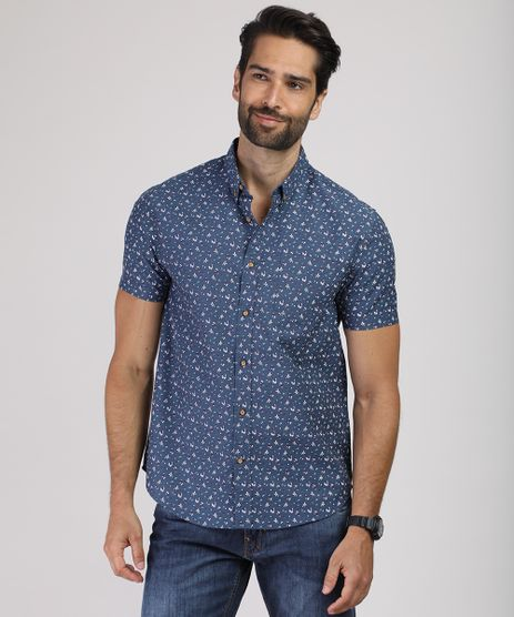 Camisa-Masculina-Comfort-Estampada-Mini-Print-Floral-Manga-Curta-Azul-9809561-Azul_1